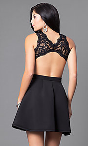 Image of mock two-piece lace-bodice short homecoming dress. Style: DC-44536 Back Image