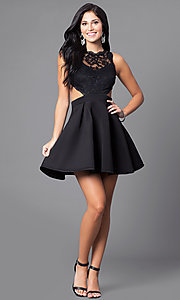 Image of mock two-piece lace-bodice short homecoming dress. Style: DC-44536 Detail Image 1