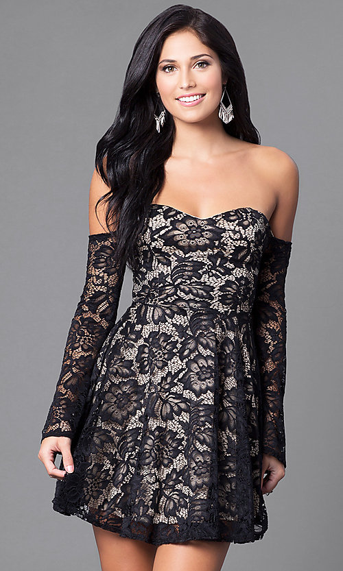 Image of open-shoulder sweetheart long-sleeve dress. Style: DC-44437 Front Image