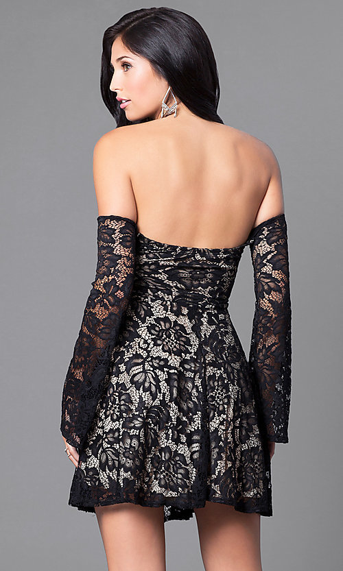 Image of open-shoulder sweetheart long-sleeve dress. Style: DC-44437 Back Image
