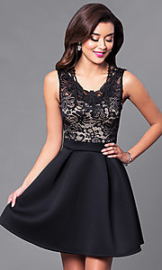 Image of short a-line homecoming dress with lace-bodice. Style: DC-44471 Front Image