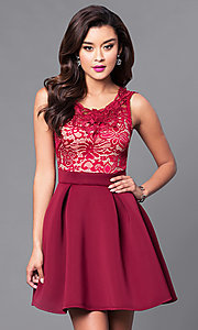 Image of short a-line homecoming dress with lace-bodice. Style: DC-44471 Detail Image 3
