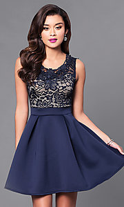 Image of short a-line homecoming dress with lace-bodice. Style: DC-44471 Detail Image 1