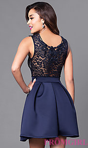 Image of short a-line homecoming dress with lace-bodice. Style: DC-44471 Back Image