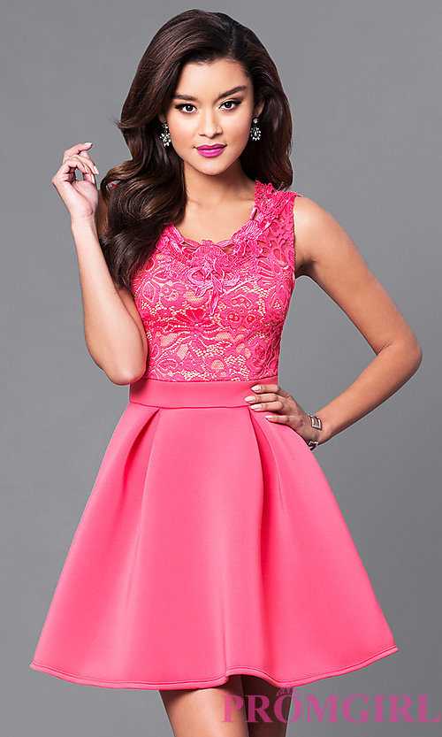 Image of short a-line homecoming dress with lace-bodice. Style: DC-44471 Detail Image 2