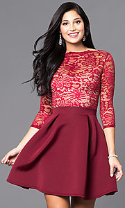 Image of 3/4 sleeve lace-bodice homecoming party dress. Style: DC-44480 Front Image