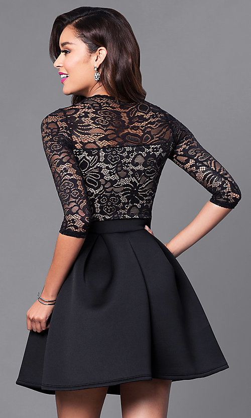 Image of 3/4 sleeve lace-bodice homecoming party dress. Style: DC-44480 Back Image
