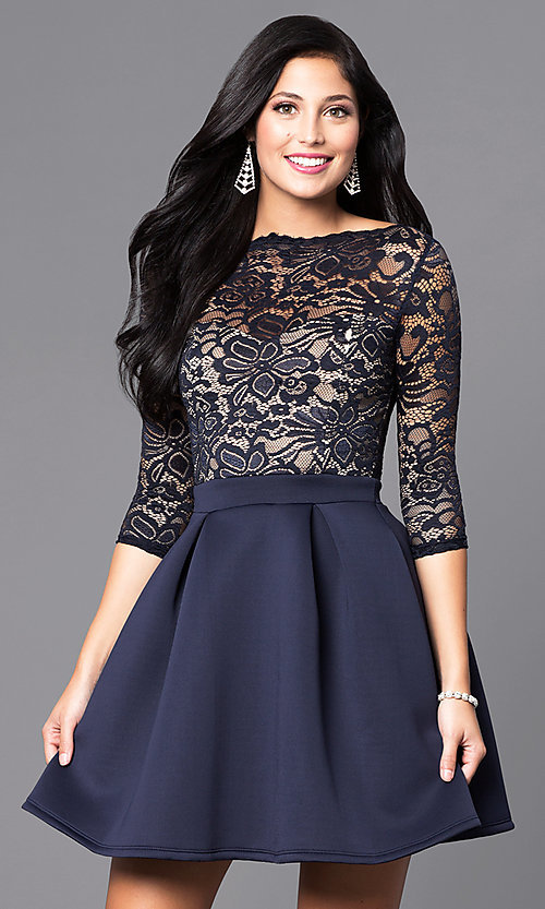 Image of 3/4 sleeve lace-bodice homecoming party dress. Style: DC-44480 Detail Image 1