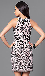 Image of short bodycon print party dress with high scoop neck. Style: JU-49283 Back Image