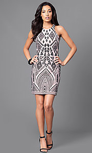 Image of short bodycon print party dress with high scoop neck. Style: JU-49283 Detail Image 1