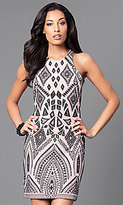 Image of short bodycon print party dress with high scoop neck. Style: JU-49283 Front Image