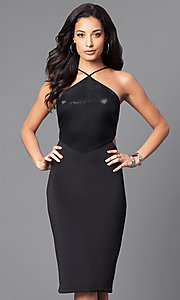 Image of black v-neck junior party dress with side cut outs.  Style: JU-49272 Front Image