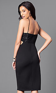 Image of black v-neck junior party dress with side cut outs.  Style: JU-49272 Back Image