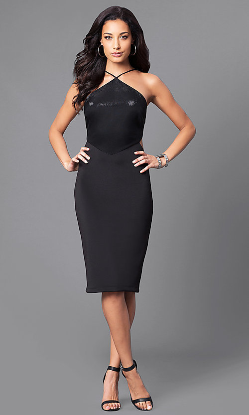 Image of black v-neck junior party dress with side cut outs.  Style: JU-49272 Detail Image 1