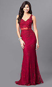 Image of long lace v-neck prom dress with illusion midriff.  Style: MF-E2025 Front Image