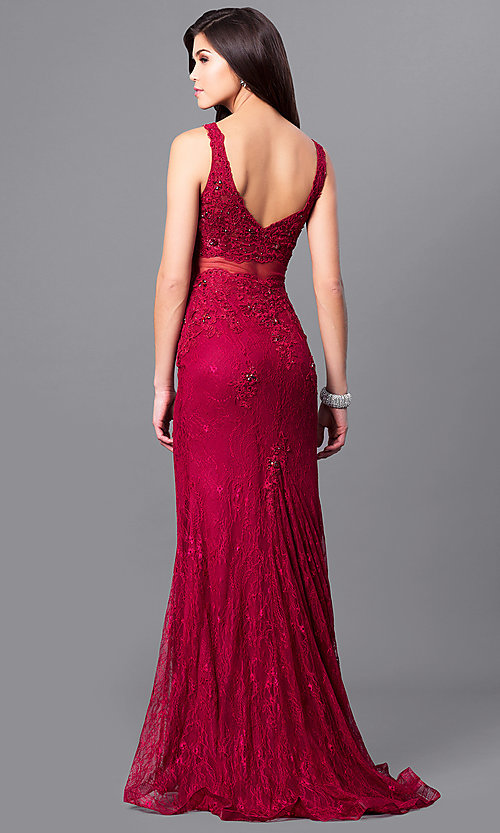 Image of long lace v-neck prom dress with illusion midriff.  Style: MF-E2025 Back Image