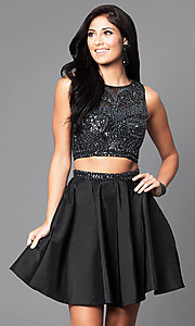 Black Two Piece Short Homecoming Dress