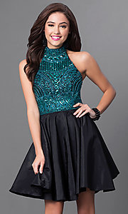 Sleeveless High Neck Milano Formals Homecoming Dress