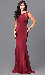 Long Burgundy Red Scoop-Neck Prom Dress