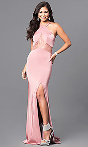 Sleeveless Rose Quartz Pink Long Formal Dress