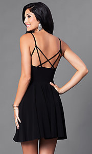Image of short camisole a-line party dress with strappy back. Style: CH-2790 Back Image