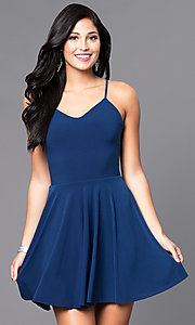 Image of short camisole a-line party dress with strappy back. Style: CH-2790 Front Image