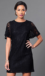Image of short flutter-sleeve lace shift party dress. Style: MB-6581 Detail Image 1