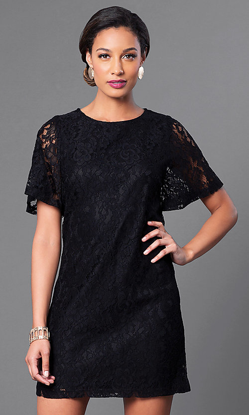 Image of short flutter-sleeve lace shift party dress. Style: MB-6581 Front Image