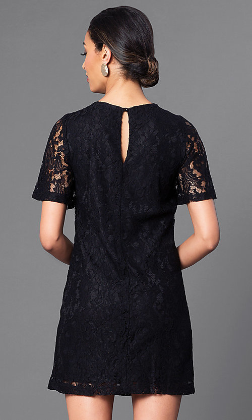 Image of short flutter-sleeve lace shift party dress. Style: MB-6581 Back Image