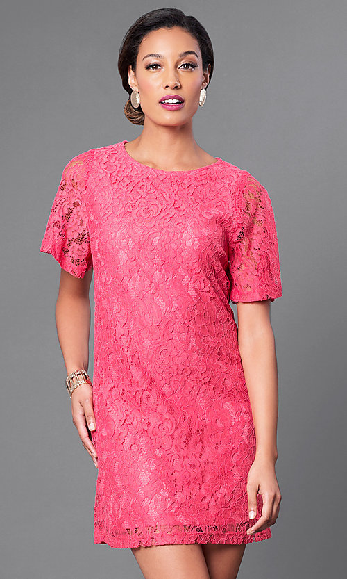 Image of short flutter-sleeve lace shift party dress. Style: MB-6581 Detail Image 3