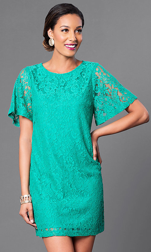 Image of short flutter-sleeve lace shift party dress. Style: MB-6581 Detail Image 2
