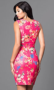 Image of short sleeveless floral-print semi-casual dress. Style: MB-6917 Back Image
