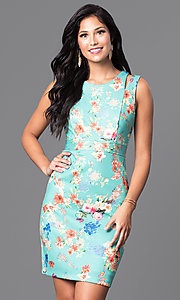 Image of short sleeveless floral-print semi-casual dress. Style: MB-6917 Front Image