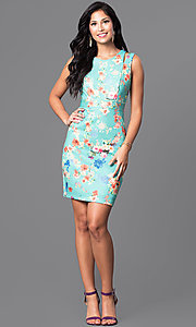 Image of short sleeveless floral-print semi-casual dress. Style: MB-6917 Detail Image 1