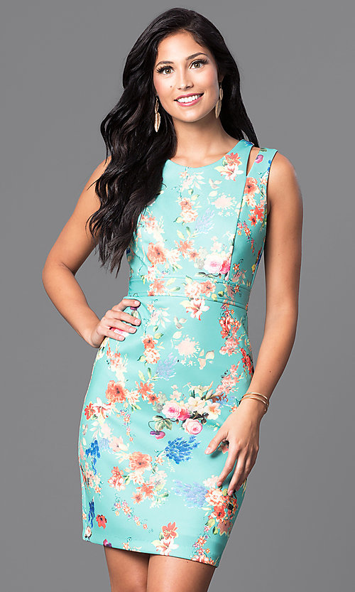 Image of short sleeveless floral-print semi-casual dress. Style: MB-6917 Detail Image 2