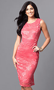 Knee Length Sleeveless Lace Semi-Formal Dress