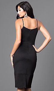 Image of knee-length sleeveless spaghetti-strap midi dress. Style: MB-7038 Back Image