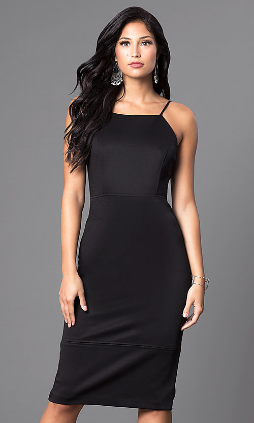 Image of knee-length sleeveless spaghetti-strap midi dress. Style: MB-7038 Detail Image 2