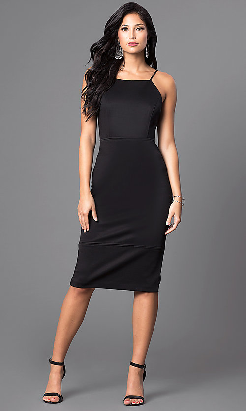 Image of knee-length sleeveless spaghetti-strap midi dress. Style: MB-7038 Detail Image 3
