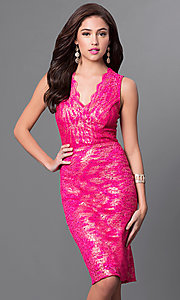 Image of scalloped v-neck knee-length lace party dress. Style: MB-7090AL28 Detail Image 2