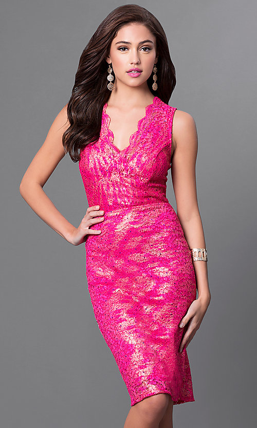 Image of scalloped v-neck knee-length lace party dress. Style: MB-7090AL28 Front Image
