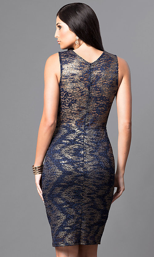 Image of scalloped v-neck knee-length lace party dress. Style: MB-7090AL28 Back Image