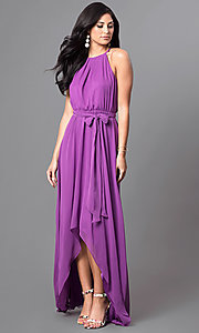 Image of long sleeveless formal dress with high-low hemline. Style: MB-7092AF10 Detail Image 1