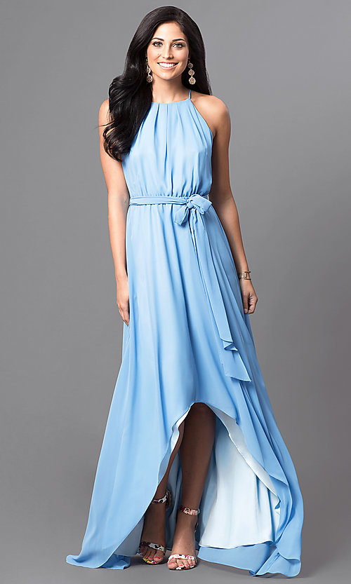 Image of long sleeveless formal dress with high-low hemline. Style: MB-7092AF10 Front Image