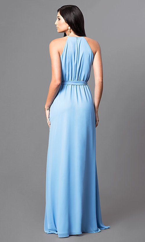Image of long sleeveless formal dress with high-low hemline. Style: MB-7092AF10 Back Image