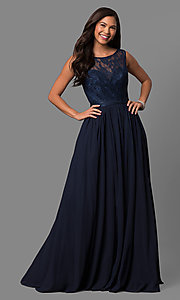 Long Lace Bodice Scoop Neck Prom Dress