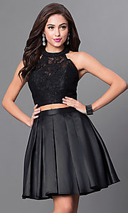 Black Halter Two Piece Homecoming Dress