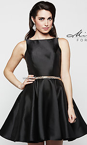 Short Black Fit and Flare Homecoming Dress