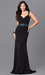 Black V-Neck Sheer Back Prom Dress