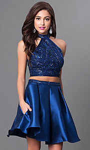 Image of two-piece short navy blue homecoming dress. Style: MF-E2075 Front Image